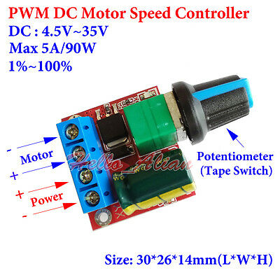 Micro PWM DC Motor Speed Controller Tape Switch LED 5A 4.5V~35V 5V 6V 12V 24V