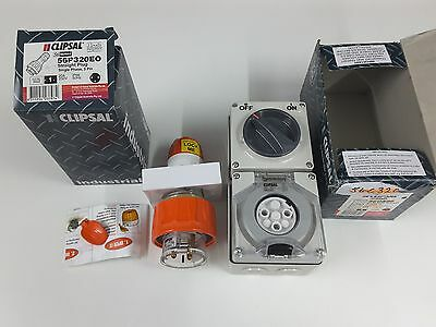 NEW CLIPSAL POWER POINT OUTLET 56c320 & PLUG 56p320 250V 20A weatherproof 1 phas