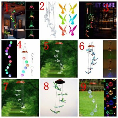 LED Solar Color Changing Shell Wind Chimes Light Lamp Home Garden Decoration