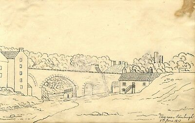 Alexander Dyce, Dean Village, Water of Leith, Edinburgh - 1813 pen & ink drawing