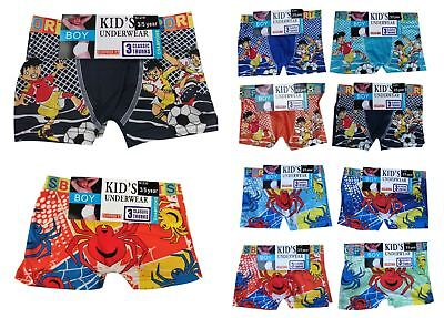 6 PAIRS BOYS STRETCH BOXER SHORTS / TRUNKS UNDERWEAR Size 3-5 / 6-8 / 9-12 Years