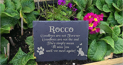 Personalised Engraved Slate Stone Heart Pet Memorial Grave Marker Plaque Cat c