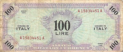 Italy  100 Lire  Series of 1943  WW II issue Block A-A circulated Banknote 3D