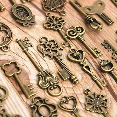 Set of 70 Keys Large Skeleton Key Antique Bronze Vintage Old Look Wedding Decor