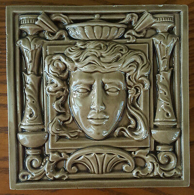 """Antique Tile. Classical Face in High Relief. 6""""."""
