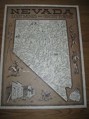 Vintage Western Decor / Nevada Map of Lost Mines and Ghost Towns