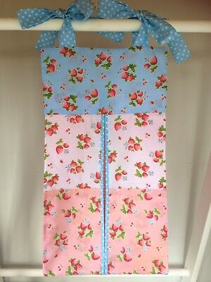 Strawberry Pink & Blue Nappy Stacker/Holder for a girl. Ideal baby shower gift.