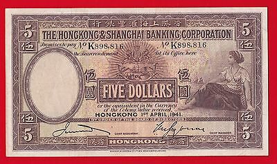 1941 Hong Kong & Shanghai Banking Corporation $5 Dollar Ef