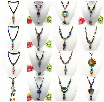 Fashion Ceramics Beads Pendant Ethnic Long Necklace Chain Jewelry Style