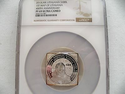 """Lithuania 2013LMK 100L"""" 1st Map of Lithuania"""" silver coin NGC PF 69 UC"""
