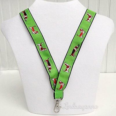 Basset Hound Dog Breed Neck Lanyard for ID or Keys - Green
