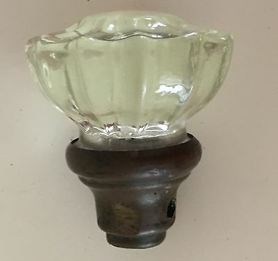 """Antique 12 Point Glass Door Knob with Brass 2""""  Excellent Condition"""