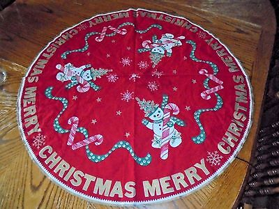 "Vintage Flannel Fabric Christmas Tree Skirt Snowman Candy Canes Print 32"" Round"