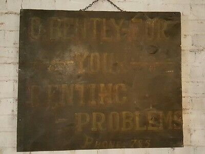 Double Sided Antique Trade Sign Advertising Bank and Real Estate New York