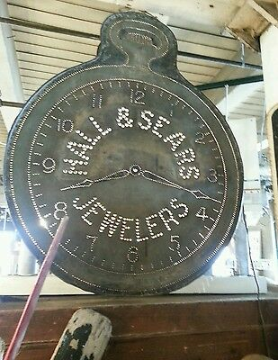 Rare Find:  Huge Antique Zinc Trade Sign Clock Jewelry and Watch Repair