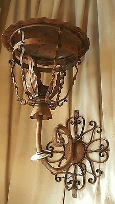Pair 19th Century Antique French Hand Forged Iron Lantern Sconces Château France
