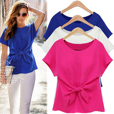 Fashion Women Ladies Chiffon Shirt Tops Blouse Short Sleeve Casual Bow T-Shirt