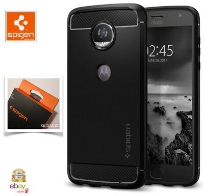 Custodia Moto Z2 Play (2017) , Spigen [Rugged Armor] Cover Carbon Look Antiurto