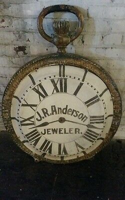 Huge 19th Century Double Sided Advertising Antique Cast Iron Clock Trade Sign