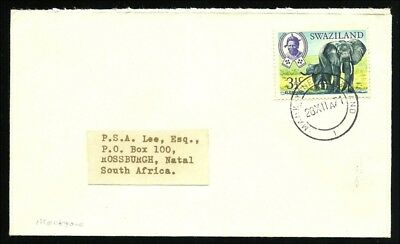 """(50781) Swaziland 1971, coverwith clear postmark """"Mankayne"""""""