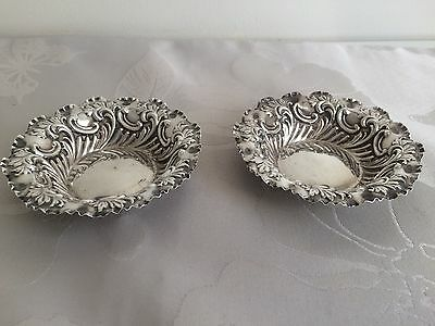Pair of Antique Sterling Silver Bon Bon Dishes - Sheffield 1901