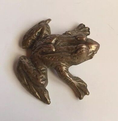 Brass Frog Figurine Paperweight Life Like Decorative