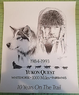 Yukon Quest Poster (Black/white drawing) signed D. Jutes?(see photo) 1992