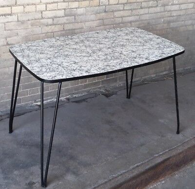 Vintage 1950s Retro Black Thread Formica Diner Kitchen Table W/Leaf White Grey