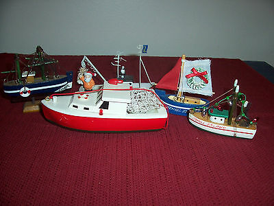 Lot of 4 Wooden & 1 Metal Souvenir Boats Jekyll Island, Corfu & Newfoundland • $4.95