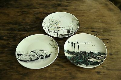 Set of Three Hand Painted Chinese Pottery Plates 8 inch