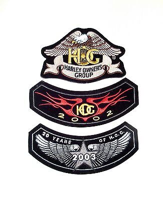 Lot Of Harley Davidson Hog Patches : 2002, 2003, & Harley Owners Group Patch.