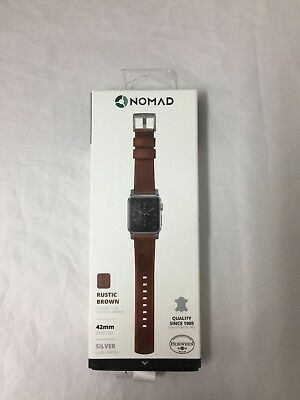 Nomad  Leather Watch Strap for Apple Watch 42mm - Rustic Brown w/silver lugs