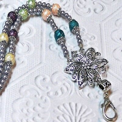 Beaded Lanyard necklace work ID badge, key holder, cruise, silver pearl flower