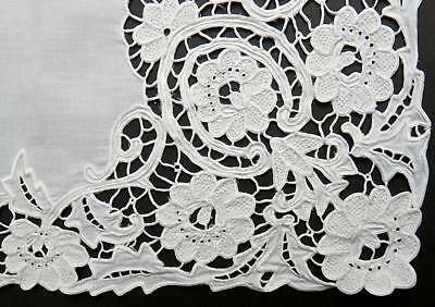 "Richelieu Cutwork Embroidery Tablecloth France 42""- French Knots Flowers - FINE!"