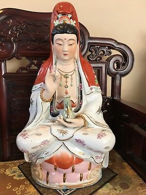 Chinese Guan Yin Vintage Figurines Porcelain Large Goddess Kwan Yin Very Old 25""