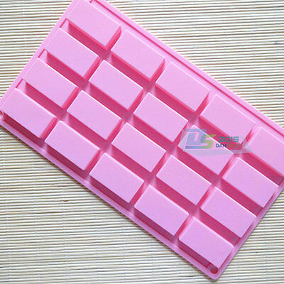 1pcs Pink 20Cav Chocolate Bar Silicone Soap Mold Cake Cube Baking Tray Mould