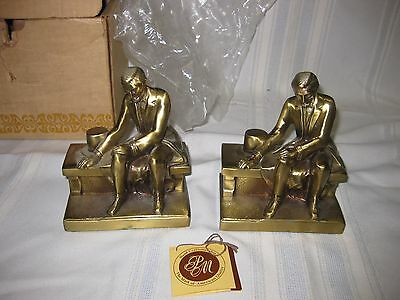 Vintage Pm Craftsman Brass Lincoln Bookend With Original Box