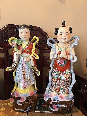 Chinese Vintage Figurines Golden Boy And Jade Girl Porcelain  Around 26.5 Inches