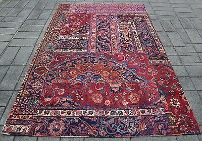 Persian Hand Knotted Vintage Patchwork Rug ( 275 x 180 CM ) Afghan Oriental Rugs