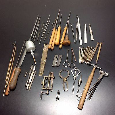 Lot of Vintage Watchmakers Tools in Wooden Case