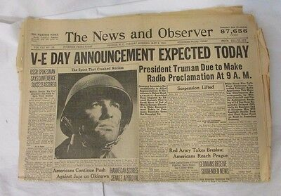 MAY 8, 1945 The News & Observer NEWSPAPER: WWII V-E DAY Announcement Expected