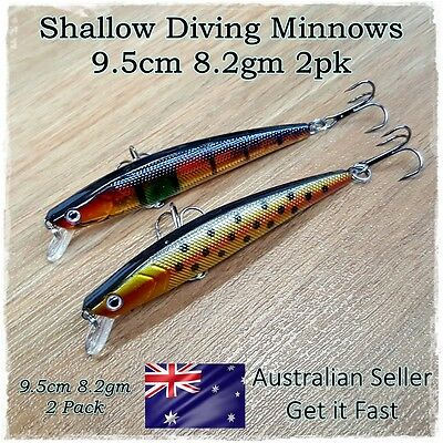 2 Trout & Redfin Fishing Lures, Flathead, Bream, Salmon, Mullaway, Whiting, Bass
