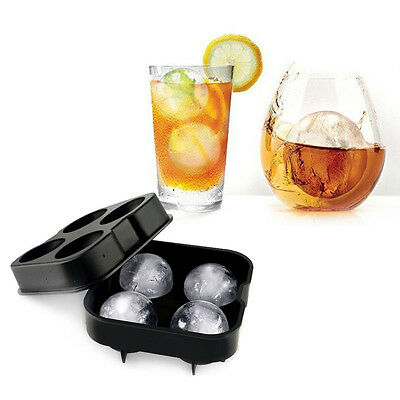 Whiskey Cocktail Ice Cube Tray 4 Large Mold Silicone Ice Ball Maker