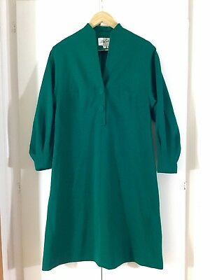 VINTAGE 60's 70's Emerald Green PURE WOOL Winter 14 16 SHIFT DRESS Retro