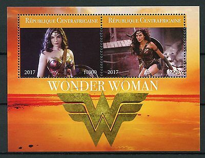 Central African Rep 2017 CTO Wonder Woman Gal Gadot 2v M/S Superheroes Stamps