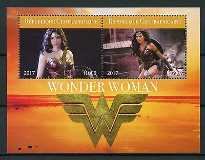 Central African Rep 2017 MNH Wonder Woman Gal Gadot 2v M/S Superheroes Stamps