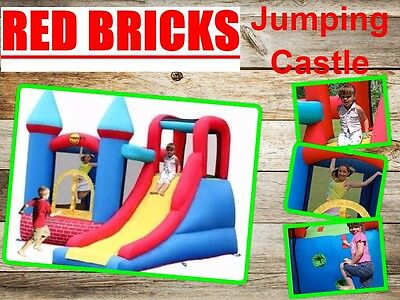 Red Bricks Jumping Castle with Slide 9007