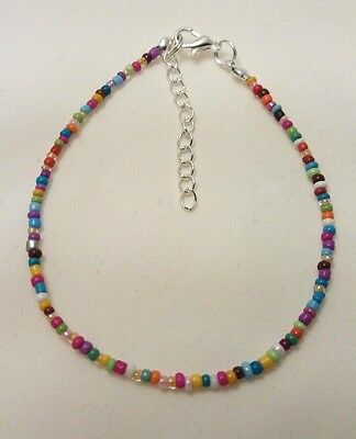 Rainbow Opaque Handmade Seed Bead Ankle Bracelet Chain Mixed Colours Anklet