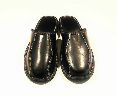 Mens Black Real Leather Slippers *EU HAND MADE PRODUCT*size 10
