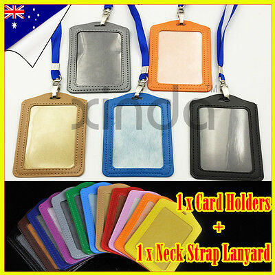 New PU Leather Business School ID Badge Card Vertical Holder Neck Strap Lanyard